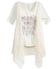 Girls Top Shirt Mesh Vest Leaf Necklace Graphic Tee Inspired Natural Sz S NWT