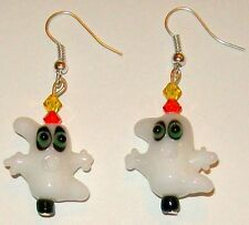 HALLOWEEN EARRINGS-GHOSTS-LAMPWORK GLASS BEADS-ORANGE/YELLOW/WHITE-HANDCRAFTED