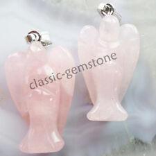 2pcs Carved Rose Quartz Angel Pendant Bead R852