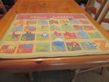 Pottery Barn Kids Gingham Quilted Animal Alphabet Soup Wall Hanging Pockets EUC