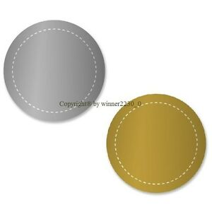 Select 40 Gold / Silver Gift Pack Seal Sticker Stitched Rounf Edges 45mm / 35mm