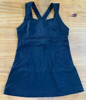 LULULEMON Women's Size XS 4 Black Cross Back Athletic Workout Tank Top EUC