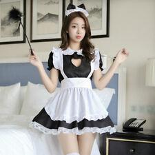 Mujeres Vestido Disfraz de Lolita camarera delantal de sirvienta traje conjunto volantes ojo de la cerradura Cosplay