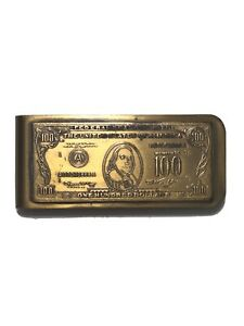 Vintage $100 American Bill Ben Franklin Brass Money Clip
