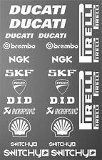 KIT ADESIVI GRAFICHE STICKERS MOTO SPONSOR BIANCO CARENE DUCATI CORSE PANIGALE