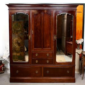 Antique Wardrobe Edwardian Triple Compactum Mahogany Armoire Large