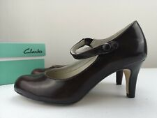 CLARKS Cushion Soft Ladies Women Burgundy Leather High Heel Court Shoe Size 5 38