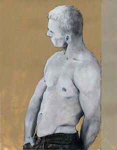 Ecru watercolor NUDE Male painting 1/9/50 Esteban Realism FREE SHIP