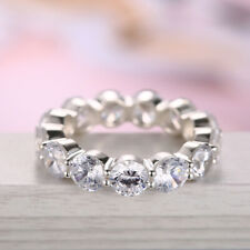 Sterling Silver Jewelry 18.9ct Graded Cubic Zirconia Round 6mm Wedding Ring Gift