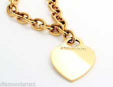 "Tiffany & Co 18kt Yellow Gold Heart Tag Charm Necklace 16"" long"