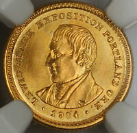 1904 Lewis & Clark Commemorative $1 Gold Coin, NGC UNC Details (Obverse Cleaned)