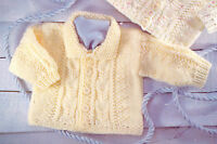 "Lovely Aran Baby Cardigans ~ Choice of Neckline 16"" ~ 26"" Knitting Pattern"
