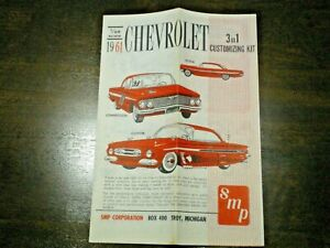 """SMP """"1961 Chev Impala """" Original 3-in-1 Model Car Instruction sheet from 1961"""