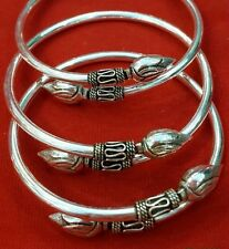 Tribal Artisan Lotus Sterling Silver 925 Bangle Cuff Jewelry Bracelet Oxidized