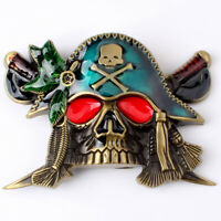 Vintage Pirate Skull Men's Belt Buckle for women Cowboy Native American Rodeo