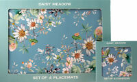 Set Of 4 Blue Daisy Meadow Dinner Place Mats And Coasters