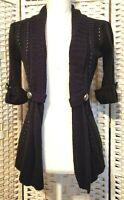 Xhilaration Cardigan Women S Open Front 3/4 Sleeves Black Knit Sweater Vest