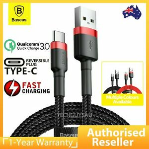 Baseus USB to Type C Charger Cable 3A Fast Charging Lead Data Cord for Samsung