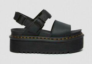 Dr. Martens Women's Voss Leather Strap Platform Sandals - Black Hydro NWB