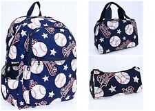 Boy's Girl's Backpack Lunch Bag Pencil Case 3 Piece Set Blue White Baseball Nwt