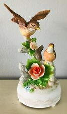 """Vintage Bird Music Box Tune: Oh What a Beautiful Morning Porcelain Bisque 9"""""""