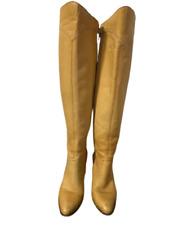 Vintage Fabulous 60's Yellow Fine Leather Knee High Hippy Boho Boots Brazil 5.5