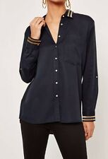 ♡Missguided Tensal Gold Stripe Collar Shirt Navy Size UK 8