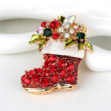 Rhinestone Crystal Christmas Stocking Boot Pin Brooch Xmas Gift Gold Tone