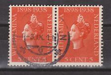 NVPH Nederland Netherlands nr 311 pair used Wilhelmina 1938 Pays Bas