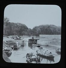 c1890s Magic Lantern Slide Photo Romney Lock Thames Windsor James Valentine