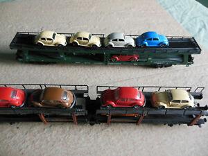 Fleischmann HO Autotransportwagen lang mit Autos aus grosser Sammlung.