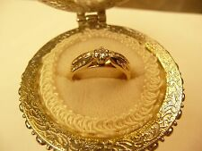 14k Gold Diamond Engagement & Wedding Band Set Yellow Gold