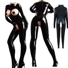 Latex Catsuit Bodysuit Women Crotchless Shiny Lingerie Clubwear Costume Jumpsuit