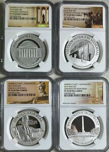 2015 America's National Monuments NIUE 4 pc set 1 oz Silver NGC PF70 Ultra Cameo