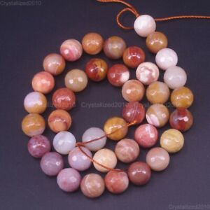 """Faceted Natural Petrified Wood Agate Gemstone Round Beads 4mm 6mm 8mm 10mm 15.5"""""""