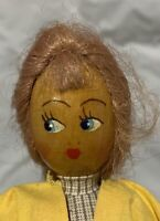 """Jointed Wood Made in Sweden Wooden Peg Doll 8 1/2"""" tall"""