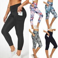 Womens Leggings Capri Yoga Pants Pocket Gym Fitness Running Training Sports Crop