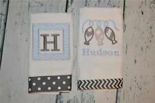 Fishing Personalized Burp Cloth set 2  Monogram Burp Cloths Blue and Grey