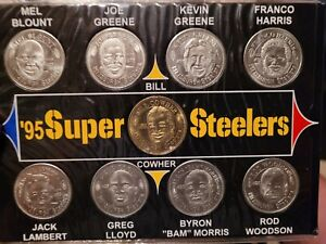 1995 Pittsburgh Steelers GIANT EAGLE coins with display Cowher/Greene/Lambert/