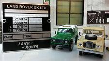Land rover série 3 léger tatillonnes cloison châssis plaque signalétique plaque