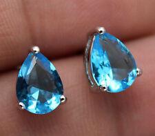 18K White Gold Filled - 5*7mm Waterdrop Blue Topaz Zircon Party Wedding Earrings