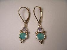 Lovely 14K Yellow Gold Blue Opal Tanzanite Dangle Drop Designer Earrings