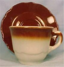 Jackson China Cup & Saucer Brown White Restaurant Ware Paul McCobb Steer