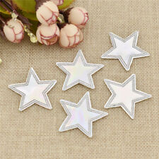 Holographic star iron on patch PU leather Cute  White Shiny Applique Iron Sewing