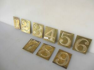 """Brass Running Number Signs Old Plaques Numbers 1-9  3.5""""H"""