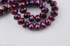Bulk 200Pcs Metal Purple Crystal Glass Faceted Rondelle Bead 4mm Spacer Findings