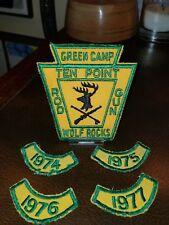 Vintage 1970s Club Patches Green Camp Ten Point Rod & Gun Wolf Rocks 1974-77