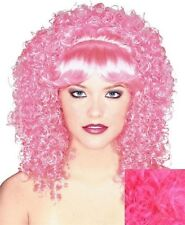 SHORT CURLY HOT PINK COSTUME WIG~ADULT~SPIRAL CURL~1980's~HALLOWEEN~KINKY CURLS