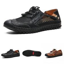 Summer Mens Flats Beach Sandals Shoes Mesh Breathable Slip on Hollow out Outdoor