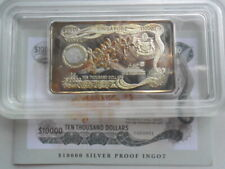 1998 Singapore Orchid $10000 Currency Notes Silver Proof Ingot